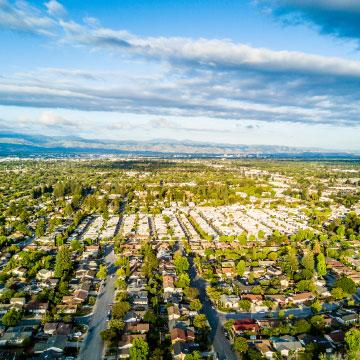 Aerial view of suburban neighborhoods